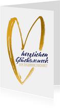 Glückwunschkarte Goldene Hochzeit goldenes Herz