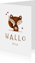 Glückwunschkarte 'Hallo' mit Fuchs