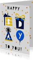 Glückwunschkarte 'happy bday to you' mit Konfetti blau