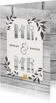 Glückwunschkarte Hochzeit Mr. & Mr. Holzlook