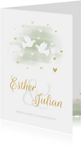 Glückwunschkarte Hochzeit Tauben goldene Herzen