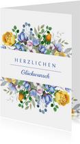 Glückwunschkarte Hochzeitsjubiläum Blumen