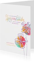 Glückwunschkarte Jugendweihe Aquarell Blüten