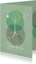 Glückwunschkarte Jugendweihe Baum Aquarell