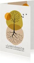 Glückwunschkarte Jugendweihe Baum mit Wurzeln