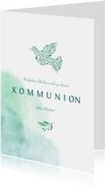 Glückwunschkarte Kommunion grüne Taube aus Zweigen