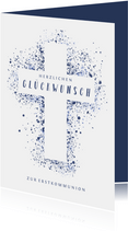 Glückwunschkarte Kommunion Kreuz blau
