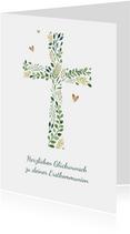 Glückwunschkarte Kommunion Kreuz botanisch