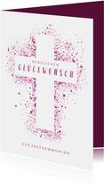 Glückwunschkarte Kommunion Kreuz pink