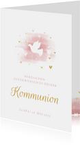 Glückwunschkarte Kommunion Taube rosa Aquarell
