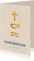Glückwunschkarte Konfirmation christliche Symbole