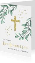 Glückwunschkarte Konfirmation Goldenes Kreuz