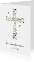 Glückwunschkarte Konfirmation Kreuz botanisch