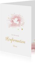 Glückwunschkarte Konfirmation Taube & Herzen
