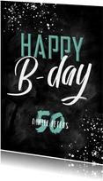 Glückwunschkarte Kreidelook Happy B-day Typografie