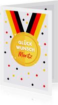 Glückwunschkarte Medaille Deutschland