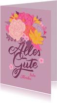 Glückwunschkarte mit Blumen & Hand-Lettering