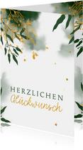 Glückwunschkarte mit Wasserfarbe und Blättern