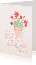Glückwunschkarte Porzellanhochzeit Tasse mit Blumen