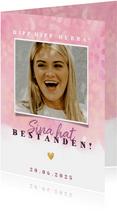 Glückwunschkarte rosa mit Foto und Tierprint