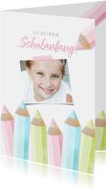 Glückwunschkarte rosa Schulanfang Foto & Buntstifte