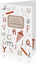 Glückwunschkarte Schulanfang ABC Schulheft rot