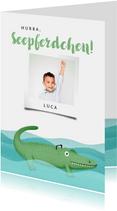 Glückwunschkarte Seepferdchen Foto & Krokodil