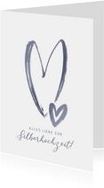 Glückwunschkarte Silberne Hochzeit Herzen