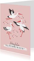 Glückwunschkarte Tanzende Störche rosa
