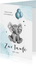 Glückwunschkarte Taufe Elefant blaue Ballons