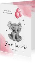 Glückwunschkarte Taufe Elefant rosa Ballon