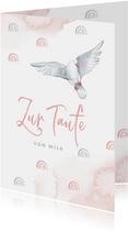 Glückwunschkarte Taufe rosa mit Taube und Regenbogen