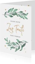 Glückwunschkarte Taufe Zweige & Herzen