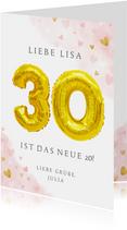 Glückwunschkarte zum 30. Geburtstag rosa mit Zahlenballon