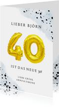 Glückwunschkarte zum 40. Geburtstag blau mit Zahlenballon