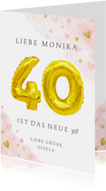 Glückwunschkarte zum 40. Geburtstag rosa mit Zahlenballon