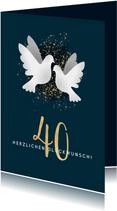 Glückwunschkarte zum 40. Hochzeitstag Weiße Tauben