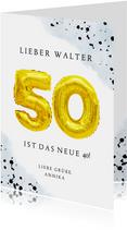 Glückwunschkarte zum 50. Geburtstag blau mit Zahlenballon
