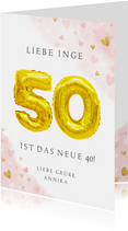Glückwunschkarte zum 50. Geburtstag rosa mit Zahlenballon