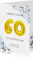 Glückwunschkarte zum 60. Geburtstag blau mit Zahlenballon