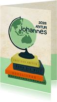 Glückwunschkarte zum Abitur Globus und Bücher