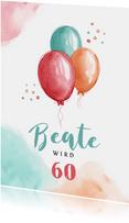 Glückwunschkarte zum Geburtstag mit bunten Luftballons