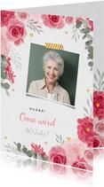 Glückwunschkarte zum Geburtstag rosa Rosen und Foto