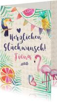 Glückwunschkarte zum Geburtstag Tropical