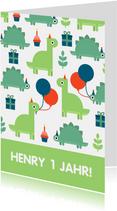 Glückwunschkarte zum Kindergeburtstag Dinos mit Ballon