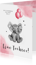 Glückwunschkarte zur Geburt Elefant mit Luftballons
