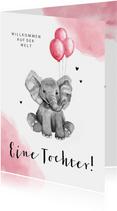 Glückwunschkarte zur Geburt Elefant mit rosa Luftballons