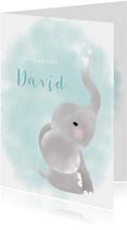 Glückwunschkarte zur Geburt Junge mit Elefant