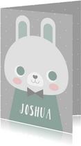 Glückwunschkarte zur Geburt Kaninchen blau grafisch