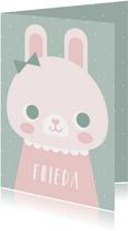 Glückwunschkarte zur Geburt Kaninchen rosa grafisch